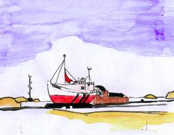 Fischkutter (aus dem Skizzenbuch) © René Märtin